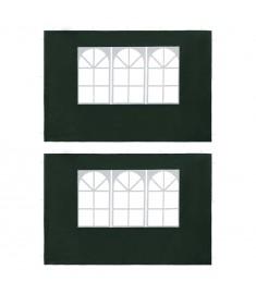 Τοιχώματα Τέντας Εκδηλώσεων 2 τεμ. Πράσινα από PE με Παράθυρο   45119