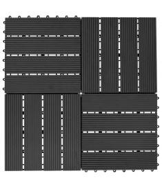 Πλακάκια Deck 11 τεμ. Μαύρα 30 x 30 εκ. 1 μ² από WPC  45023