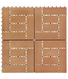 Πλακάκια Deck 11 τεμ. Χρώμα Teak 30 x 30 εκ. 1 μ² από WPC  45027