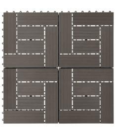 Πλακάκια Deck 11 τεμ. Σκούρο Καφέ 30 x 30 εκ. 1 μ² από WPC  45028