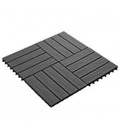 Πλακάκια Deck 11 τεμ. Ανάγλυφα Μαύρα 30 x 30 εκ. 1 μ² από WPC  45036