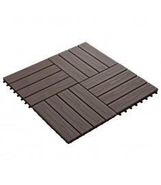 Πλακάκια Deck 11 τεμ. Ανάγλυφα Σκούρο Καφέ 30x30 εκ. 1 μ² WPC  45038