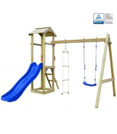 Σπιτάκι με Τσουλήθρα/Σκάλες/Κούνια 242x237x218 εκ. Ξύλο FSC    275437