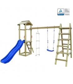 Σπιτάκι με Τσουλήθρα/Σκάλες/Κούνια 286x237x218 εκ. Πεύκο FSC   275439