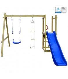 Σπιτάκι με Τσουλήθρα/Σκάλες/Κούνια 242x237x175 εκ. Ξύλο FSC   275443