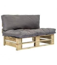 Καναπές Κήπου με Παλέτες από Ξύλο Πεύκου FSC με Γκρι Μαξιλάρια  275285