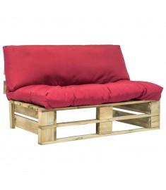 Καναπές Κήπου με Παλέτες Ξύλο Πεύκου FSC με Κόκκινα Μαξιλάρια  275286