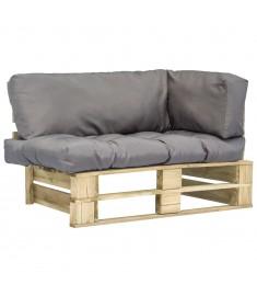 Καναπές Κήπου με Παλέτες από Ξύλο Πεύκου FSC με Γκρι Μαξιλάρια  275291