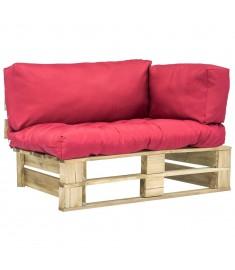 Καναπές Κήπου με Παλέτες από Ξύλο Πεύκου FSC Κόκκινα Μαξιλάρια  275292