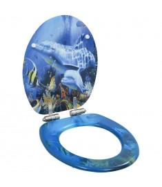 Κάλυμμα Λεκάνης με Καπάκι Soft Close Σχέδιο Δελφίνια από MDF  143930