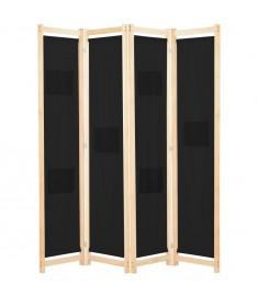 Διαχωριστικό Δωματίου με 4 Πάνελ Μαύρο 160x170x4 εκ. Υφασμάτινο  248184
