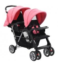 Καροτσάκι για Δύο Παιδιά Ροζ / Μαύρο Ατσάλινο  10157