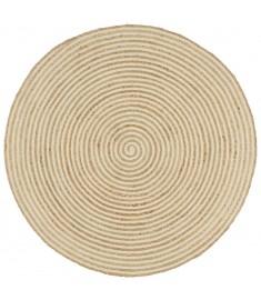 Χαλί Χειροποίητο 90 εκ. από Γιούτα με Λευκό Σπιράλ Σχέδιο  133716