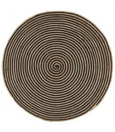 Χαλί Χειροποίητο 90 εκ. από Γιούτα με Μαύρο Σπιράλ Σχέδιο  133719