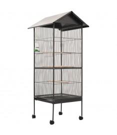 Κλουβί Πουλιών με Σκεπή Γκρι 66 x 66 x 155 εκ. Ατσάλινο  144282