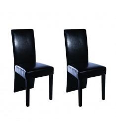 Καρέκλες Τραπεζαρίας 2 τεμ. Μαύρες από Συνθετικό Δέρμα   60249