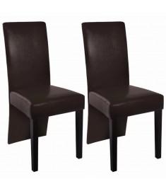Καρέκλες Τραπεζαρίας 2 τεμ. Σκούρο Καφέ από Συνθετικό Δέρμα   60250