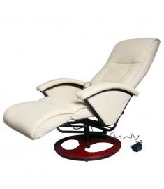 Πολυθρόνα Μασάζ Ηλεκτρική Λευκή Κρεμ από Συνθετικό Δέρμα    60312