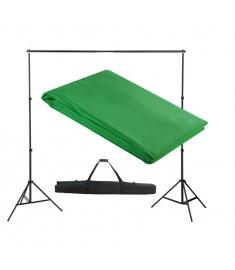 Σύστημα Στήριξης & Φωτογραφικό Φόντο Πράσινο 300 x 300 εκ.  160066