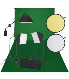 Κιτ Στούντιο:Φωτογραφικό Φόντο Πράσινο, 3 Λάμπες Ημέρας & Ανακλαστήρας    160106