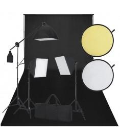 Κιτ Στούντιο: Φωτογραφικό Φόντο Μαύρο, 3 Λάμπες Ημέρας & Ανακλαστήρας    160107