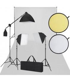 Κιτ Στούντιο: Φωτογραφικό Φόντο Λευκό, 3 Λάμπες Ημέρας & Ανακλαστήρας    160108