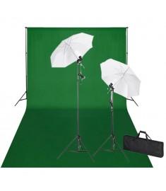 Σετ Studio: Σύστημα Φόντου Πράσινο 600 x 300 εκ. & Φωτισμός    160178