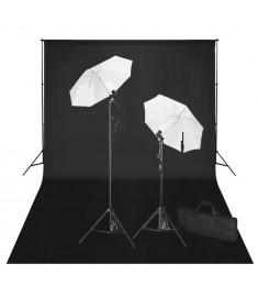 Σετ Studio: Σύστημα Φόντου Μαύρο 600 x 300 εκ. & Φωτισμός    160179