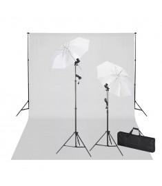 Σετ Studio: Σύστημα Φόντου Λευκό 600 x 300 εκ. & Φωτισμός   160180