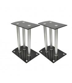 Stand ηχείων Αλουμίνιο με μαύρο γυαλί 2 τμχ  50139