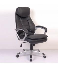 Καρέκλα Γραφείου Πολυτελείας Executive Δέρμα Μαύρη Ασημι Μπράτσα  20035