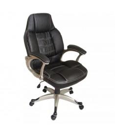Καρέκλα Γραφείου Πολυτελείας Δερματίνη Μαύρη Πλαστικά Μπράτσα  20038