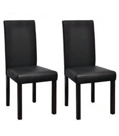 Καρέκλες Τραπεζαρίας 2 τεμ. Μαύρες από Συνθετικό Δέρμα  60585