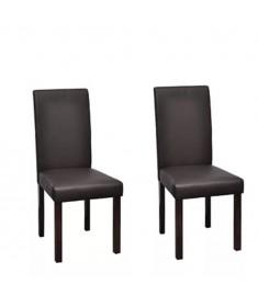 Καρέκλες Τραπεζαρίας 2 τεμ. Καφέ από Συνθετικό Δέρμα  60587