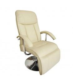 Πολυθρόνα Μασάζ Ηλεκτρική Λευκό Κρεμ από Συνθετικό Δέρμα    240065