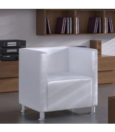 Πολυθρόνα Cube Λευκή από Συνθετικό Δέρμα   240069
