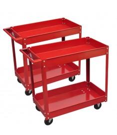 2xΦορητοί Εργαλειοφόροι με Δύο Ράφια 100 kg Κόκκινοι  140155