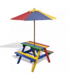 Τραπέζι Πικ-νικ Παιδικό με Παγκάκια & Ομπρέλα σε 4 Χρώματα  40773