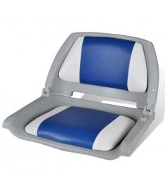 Αναδιπλούμενο Κάθισμα Βάρκας με Μαξιλάρι Μπλε-Λευκό 41 x 51 x 48 cm   90418