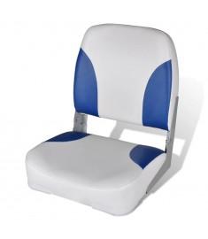 Κάθισμα Σκάφους Αναδιπλούμενο με Μαξιλάρι Μπλε-Λευκό 41 x 36 x 48 εκ.   90419