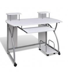 Λευκό Φορητό Φοιτητικό Γραφείο με Βάση Υπολογιστή και Συρόμενο Ράφι    20056
