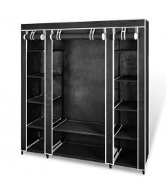 Ντουλάπα με Ράφια / Σωλήνες Μαύρη 45 x 150 x 176 εκ. Υφασμάτινη    240495