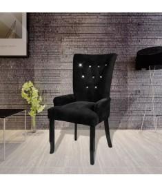 Πολυθρόνα Μαύρη Βελουτέ με Ξύλινο Σκελετό   240653