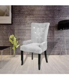 Πολυθρόνα Ασημί Βελουτέ με Ξύλινο Σκελετό   240654