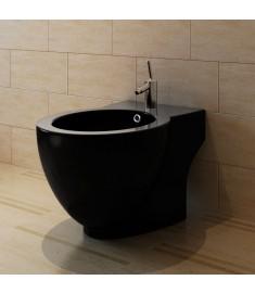 Μπιντές Κυκλικός Επιδαπέδιος Υψηλής Ποιότητας Μαύρος Κεραμικός  140666