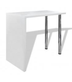 Τραπέζι Μπαρ Γυαλιστερό Λευκό από MDF με 2 Ατσάλινα Πόδια   240818