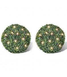 Πυξάρι Σχήμα Μπάλας με Τεχνητά Φύλλα & Φωτάκια LED Ηλιακά 2 τεμ 35 εκ.  270058
