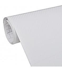 Μεμβράνη Αυτοκινήτου 3D Ανθρακόνημα Λευκή 152 x 200 εκ. από Βινύλιο  150137
