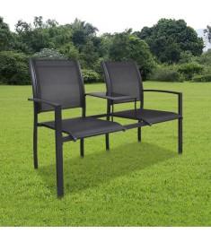 Κάθισμα Διθέσιο Κήπου Μαύρο 131 εκ. Ατσάλι /Textilene  40838