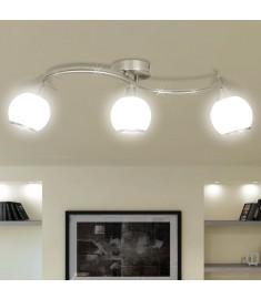 Φωτιστικό Οροφής με Γυάλινα Καπέλα σε Κυματιστή Ράγα για 3 Λάμπες Ε14   240986
